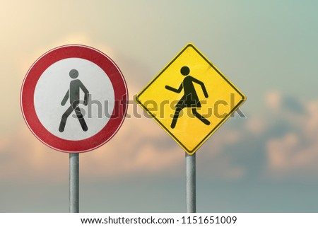 Divorce, quarrel, conflict, rivalry, competition, panic -  a woman running after a man. Road signs. #1151651009