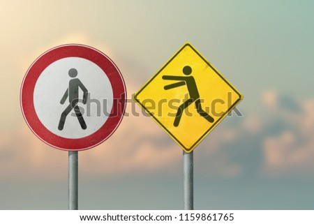 Divorce, quarrel, conflict, rivalry, competition, panic - running and going men. Road signs. #1159861765