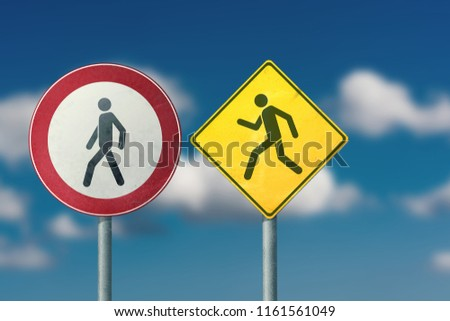 Divorce, quarrel, conflict, rivalry, competition, panic - walking and running men. Road signs. #1161561049