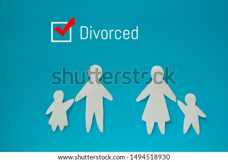 Divorced couple concept image. Paper couple and divorced sign #1494518930