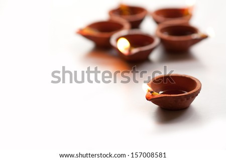 Diwali Diyas on a isolated white background