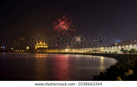 Diwali fireworks at Marine Drive.  Marine Drive is the most beautiful place at Mumbai, it's also known as Queen's Necklace.  #1038663364