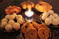 Diwali food spread