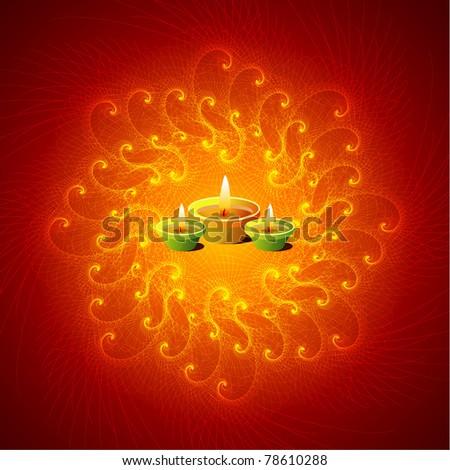 Diwali - Glowing Lamps On Mandala Background