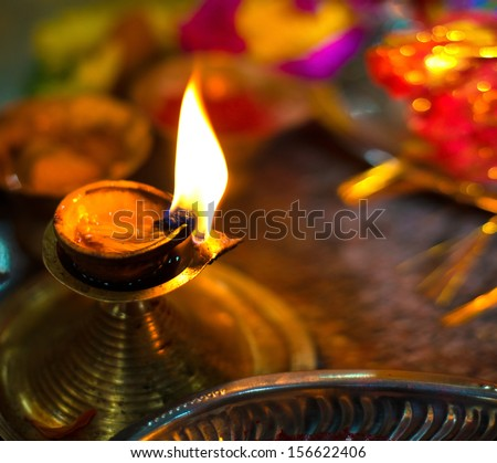 Diwali lamp with indian festival setup
