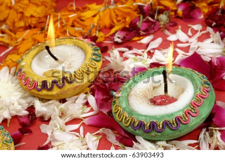 Diwali Lamps-beautiful traditional decorated lamps   on the occasion of Diwali festival  in India.