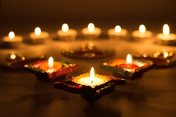 Diwali lamps for the Indian festival of light