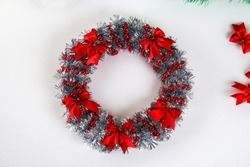 Diy Christmas wreath. Guide on the photo how to make a Christmas wreath with your own hands from a cardboard plate, tinsel, beads, bows and balls. Handmade The decor