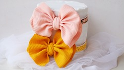 DIY craft handmade classic bow hair with pastel color hair accessories. This closeup design collection is a modern headpiece for woman accessories.