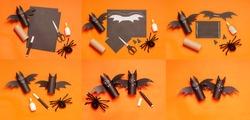 Diy Halloween bat from toilet tube on orange background. Halloween holiday concept. Instruction.Step by step.Top view. Children Halloween craft. Workshop, tutorial