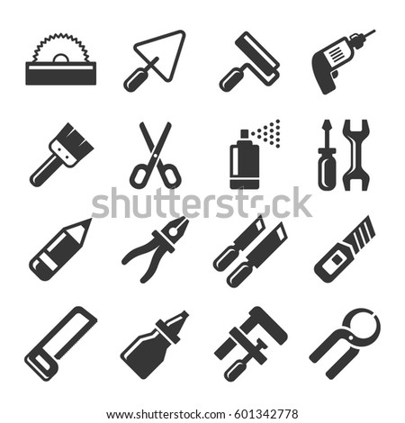 DIY Hand Tools Icons Set. illustration