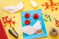 DIY instructions. How to make card with carnation flowers and origami dove at home. Card to Victory Day 9 May. Step by step photo instruction. Step 12. Written