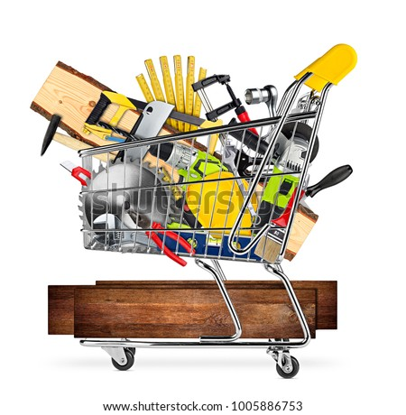 DIY market hardware store concept tools and wood planks in shopping cart isolated on white background
