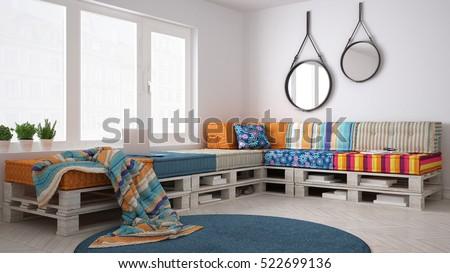 DIY pallet couch sofa, scandinavian white living, interior design, 3d illustration