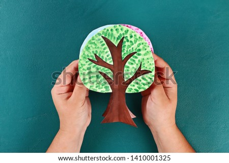 Diy paper tree four seasons summer, autumn, winter, spring. Tree 4 season. Childrens creativity. Gift idea, decor. Step by step. Top view. Process kid children craft Workshop