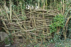 DIY wattle fencing, woven thin branches between upright slats, eco friendly fencing