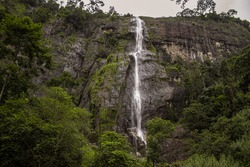 Diyaluma Falls, 220 m (720 ft) high and the second highest waterfall in Sri Lanka