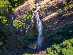 Diyaluma waterfall, Sri Lanka, aerial view of waterfall, beautiful landscapes