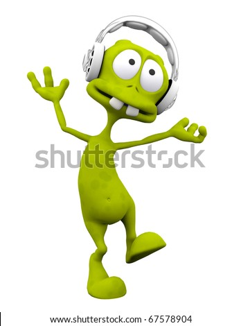 dj alien cartoon dancing with the headphone on