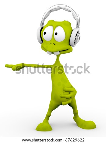dj alien cartoon dancing with the headphone on freestyle