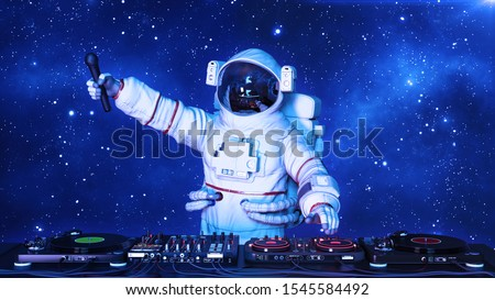 DJ astronaut, disc jockey spaceman holding microphone and playing music on turntables, cosmonaut on stage with deejay audio equipment, 3D rendering