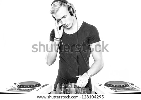 DJ at work in front of white background #128104295