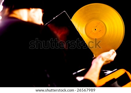 DJ choose golden vintage vinyl