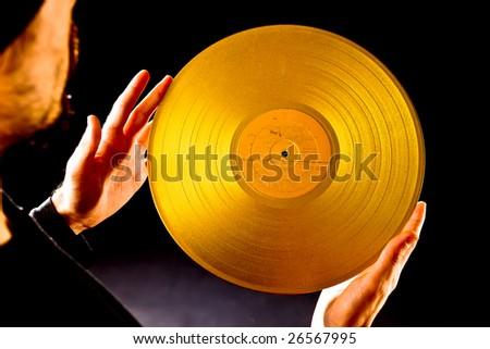 DJ choose golden vintage vinyl