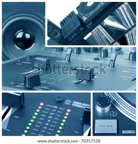 Dj collage. Turntable and mixer parts