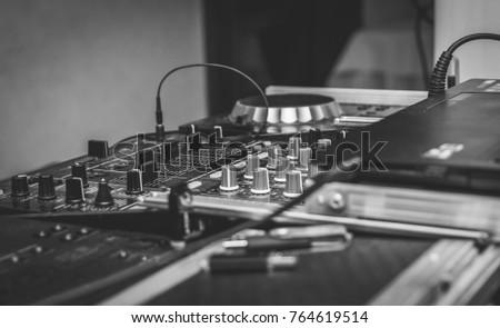 dj console in the nightclub ...