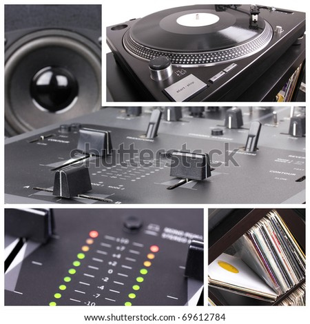 Dj equipment collage. Turntable and mixer parts