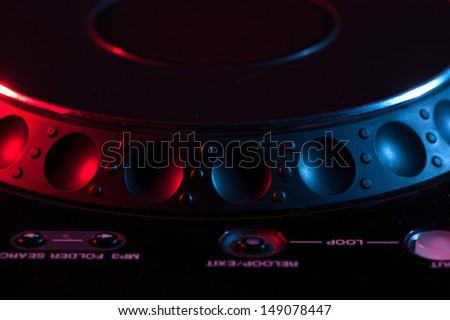 DJ Mixer. Close-up of DJ mixer