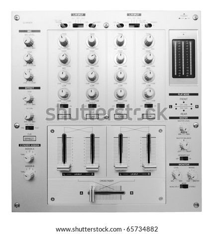 DJ mixer shot from above isolated on white background