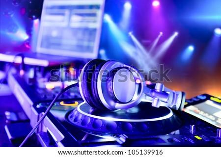 Dj mixer with headphones at nightclub Сток-фото ©
