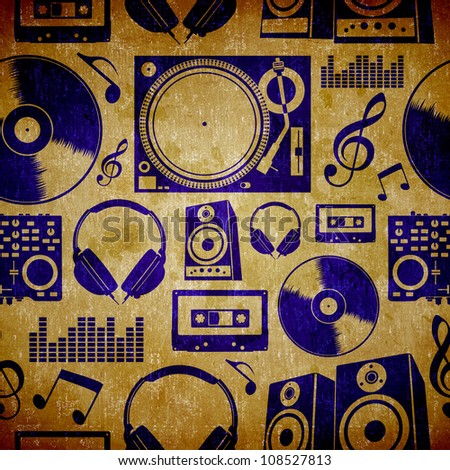 Dj music icon set vintage seamless pattern background.