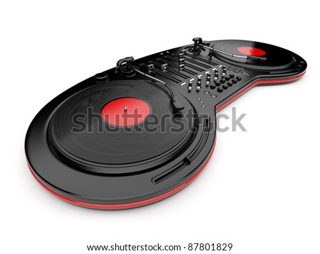 DJ music mixer control with  vinyl disc 3D. Isolated on white
