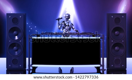 DJ Robot, disc jockey cyborg with microphone playing music on turntables, android on stage with deejay audio equipment, front view, 3D rendering