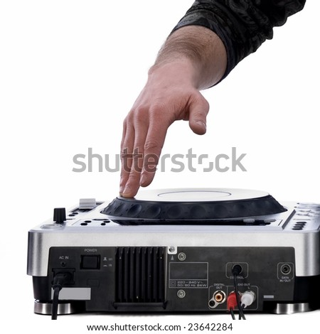 dj's hand playing on mixer isolated on white