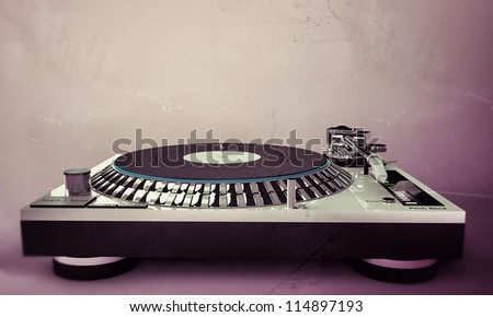 dj set isolated on pink background in old grunge photo