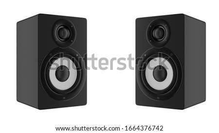 Dj shop with music loud speakers sale. Buy isolate hifi sound system for sound recording studio. Professional hi-fi cabinet speaker box on sale. Audio equipment for musicians. 3d rendering