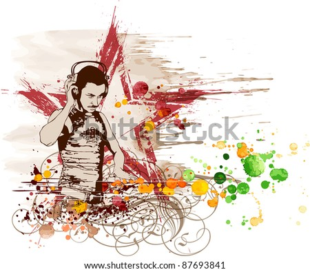 DJ Star & music colors mix. Bitmap copy my vector ID 15771619