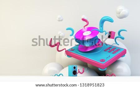 DJ turntable abstract illustration 3d rendering