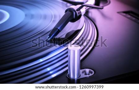 DJ Turntable closeup light effects