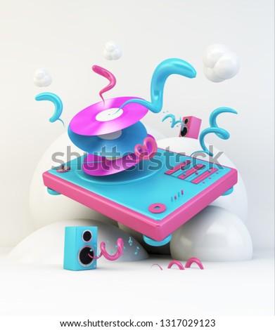 DJ turntable 3d rendering