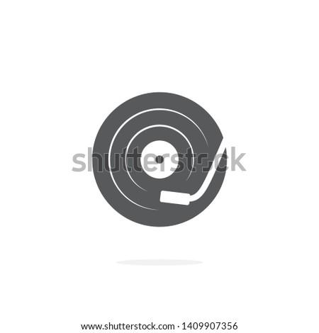 DJ turntable icon on white background