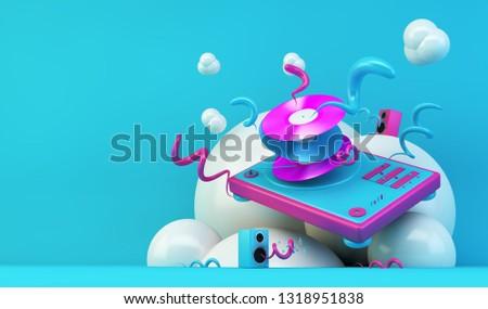 DJ turntable illustration on blue and pink 3d rendering
