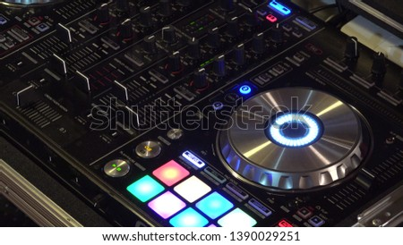 DJ turntable in the club