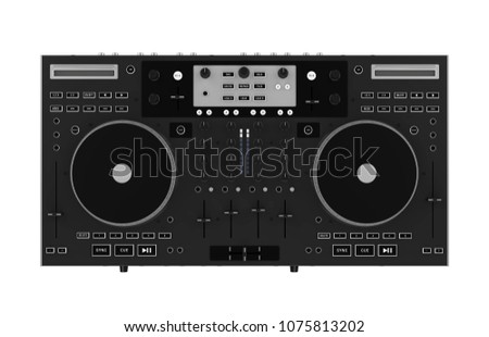 DJ Turntable Isolated (top view). 3D rendering