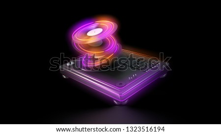 dj turntable with neon glows 3d rendering illustration