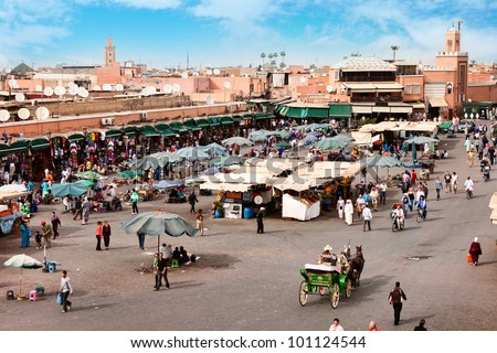 Djemaa el Fna - square and market place in Marrakesh's medina quarter, Marrakesh, Morocco.